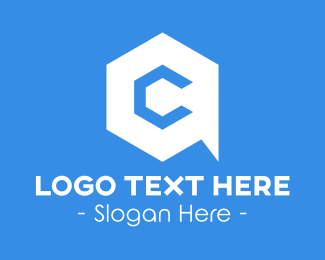 """""""Hexagon Chat Letter C"""" by royallogo"""