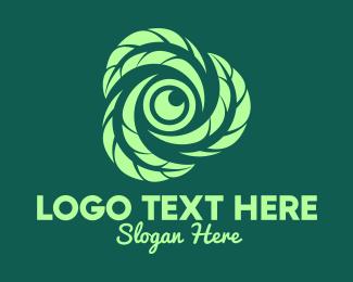 Video Recorder - Green Leaf Camera Lens logo design