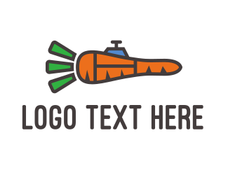 Veggie - Carrot Rocket  logo design