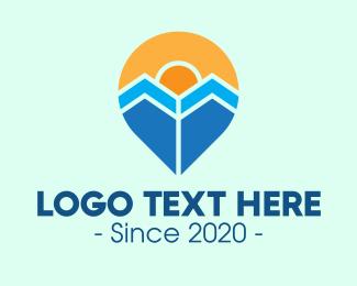 Travel Destination - Sunshine Holiday Pin  logo design