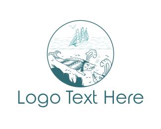Diving - Blue Sea Monster logo design