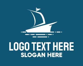 Ship - Blue Sailing Ship logo design