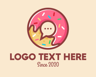 Messaging App - Colorful Donut Chat App logo design