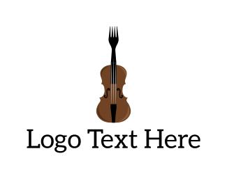 Eating - Fork Violin logo design