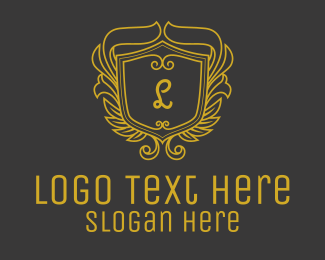 Ruins - Golden Ornate Shield Lettermark logo design