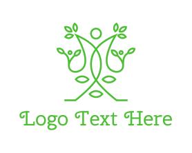 Green Human Vines  Logo