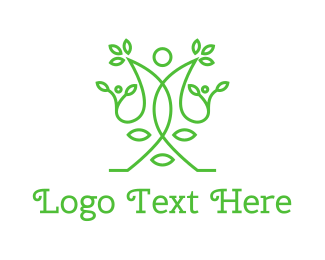 Meditation - Green Human Vines  logo design