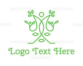 Meditation - Green Human Vines  logo design