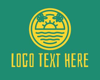 Coconut Tree - Summer Beach Resort logo design