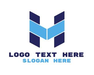 Blocks - Blue Letter HM logo design