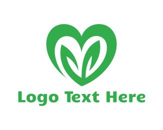 Weed - Green Eco Heart logo design