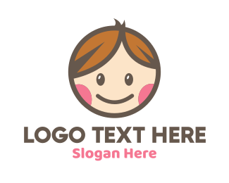 Boy And Girl - Smiling Cute Children Kids logo design