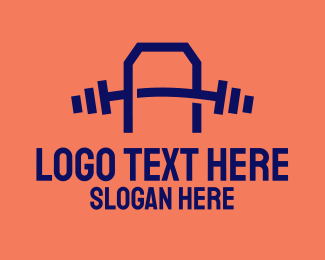 Weight Lifting - Gym Letter A logo design