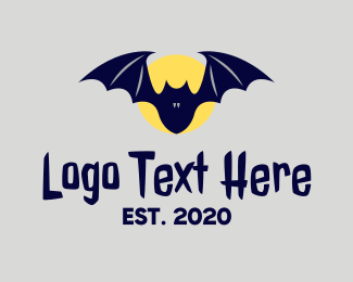 Bat - Night Moon Bat  logo design