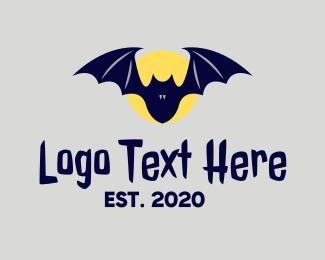 Forest Animal - Night Moon Bat logo design
