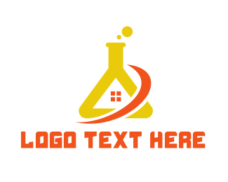 Yellow House - Lab House logo design