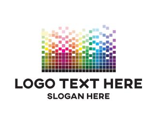 Pixels - Pixel Tetris logo design