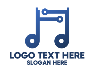 Quarter Note - Digital Musical Note logo design