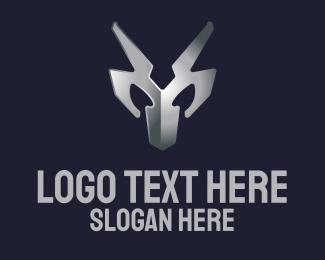 Metal - Metallic Silver Mask logo design