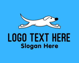 Dog Adoption - White Hopping Dog logo design