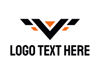 Emblem - V Wings logo design