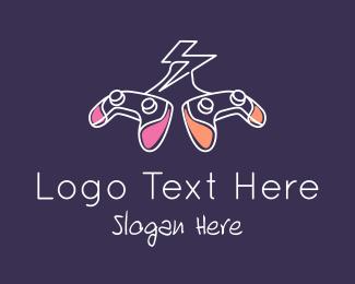 Minimalist - Gamepad Thunderbolt logo design