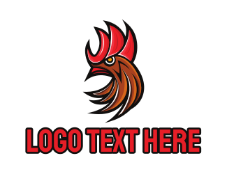 Chicken - Rooster Red logo design