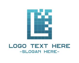 Pixel - Blue Letter L logo design