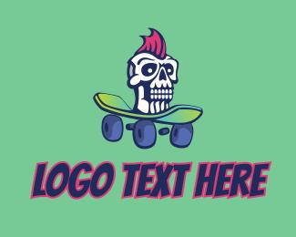Rockstar - Mohawk Skull Skateboard  logo design