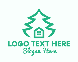 Pine - Green Pine Tree House logo design