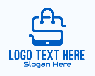 Mobile Tablet - Blue Mobile Shopping Bag logo design