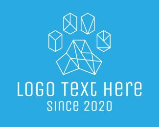 Pet - Geometric Pet Paw Print logo design