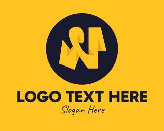 Letter N - Yellow Letter N logo design