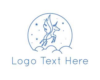 Pegasus - Blue Unicorn logo design