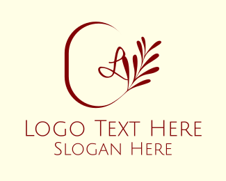 Chic - Elegant Leaves Lettermark logo design