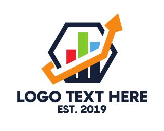 Stock Market - Hexagon Statistic Arrow logo design