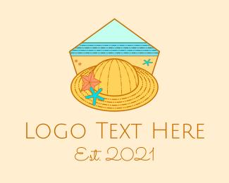 Boracay - Summer Hat Line Art logo design