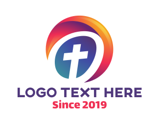 God - Cross Circle logo design
