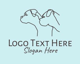 Dog Accessory - Dog Grooming Outline logo design