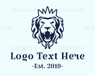 Monarchy - Royal Blue Lion logo design