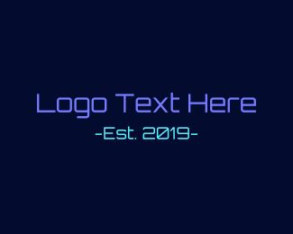 Web Development - Neon Technology Font Text logo design