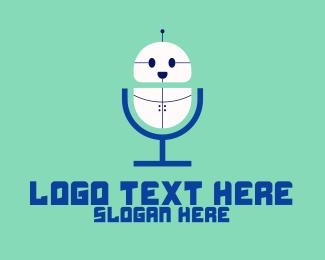 Microphone - Cute Robot Microphone logo design
