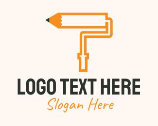 Paint - Pencil Paint Roller logo design