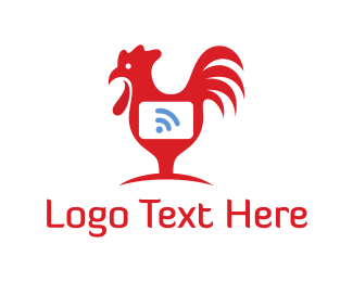 Wireless - Rooster Wifi  logo design
