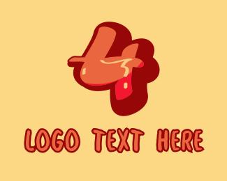 Tattoo Parlor - Subway Graffiti Number 4 logo design