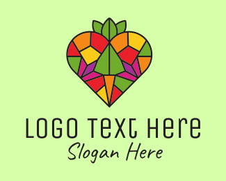 Kaleidoscope - Heart Farm Stained Glass logo design