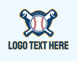 Baseball Bat - Baseball Softball Team Emblem  logo design