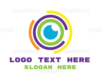 Binoculars - Colorful Abstract Eye logo design