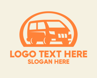 Trailer Van - Orange Van Transportation logo design