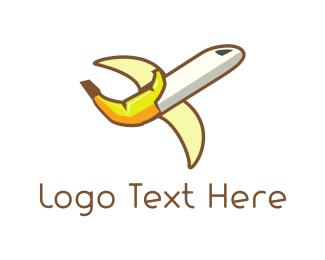 Aeroplane - Banana Airplane logo design